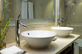 Sinks in a remodeled Basking Ridge, NJ bathroom.